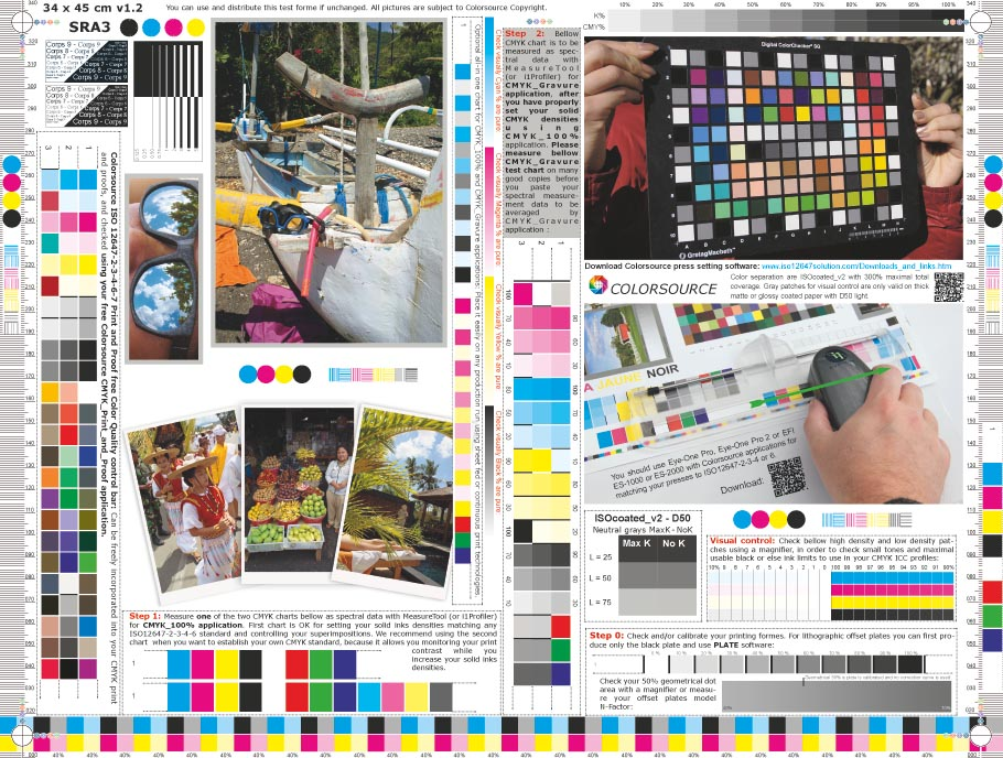SRA3 Lanscape CMYK test form 450 x 340 mm
